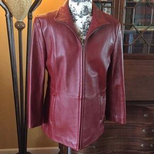Jackets & Blazers - Stylish Alfani red leather jacket